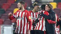 Brentford Manager, Thomas Frank, celebrates their victory at the final whistle with Josh DaSilva during Brentford vs Wycombe Wanderers, Sky Bet EFL Championship Football at the Brentford Community Stadium on 30th January 2021