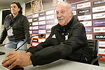 Spain's coach Vicente del Bosque in press conference during previous friendly match. May 31,2016.(ALTERPHOTOS/Acero)