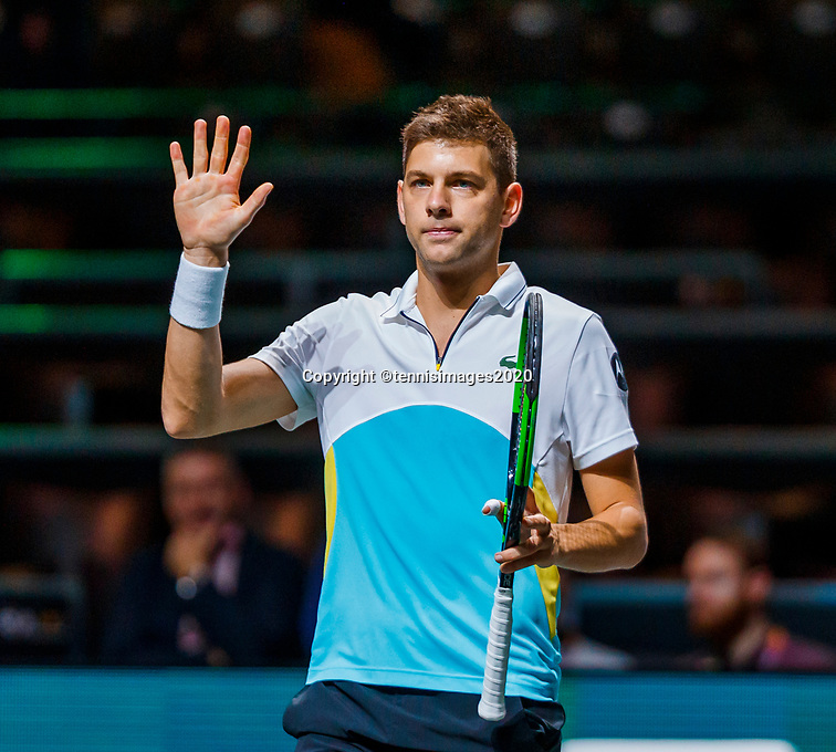 Rotterdam, The Netherlands, 11 Februari 2020, ABNAMRO World Tennis Tournament, Ahoy, <br /> Filip Krajinovic (SRB)  (L) celebrates his win<br /> Photo: www.tennisimages.com