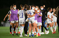 31st August 2021; Estadio Afredo Di Stefano, Madrid, Spain; Women's Champions League, Real Madrid CF versus Manchester City Football Club; Athenea and Marta Corredera after the match (Real Madrid)