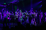 """Rob McClure, Sophia Anne Caruso, Alex Brightman, Kerry Butler, Leslie Kritzer and Jill Abramovitz during the Broadway Opening Night Performance Curtain Call for """"Beetlejuice"""" at The Winter Garden on April 25, 2019 in New York City."""