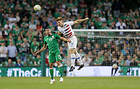Dublin, Ireland - Saturday June 02, 2018: Jonathan Walters, Tim Parker during an international friendly match between the men's national teams of the United States (USA) and Republic of Ireland (IRE) at Aviva Stadium.