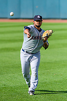 Colorado Springs Sky Sox pitcher Angel Ventura (38) warms up in the outfield prior to game one of a Pacific Coast League doubleheader against the Iowa Cubs on August 17, 2017 at Principal Park in Des Moines, Iowa. Iowa defeated Colorado Springs 1-0. (Brad Krause/Four Seam Images)