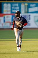 Mississippi Braves left fielder Trey Harris (22) on defense against the Tennessee Smokies at Smokies Stadium on July 15, 2021, in Kodak, Tennessee. (Danny Parker/Four Seam Images)