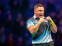 12th March 2020; M and S Bank Arena, Liverpool, Merseyside, England; Professional Darts Corporation, Unibet Premier League Liverpool; Gerwyn Price celebrates winning a lega gainst Michael van Gerwen during his night six match