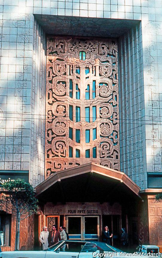 San Francisco:  450 Sutter St. Entrance. T. Pflueger, 1929-30.  Photo '83.
