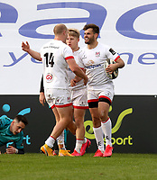 25 October 2020; Louis Ludik of Ulster is congratulated after scored against  during the Guinness PRO14 match between Ulster and Dragons at Kingspan Stadium in Belfast. Photo by John Dickson/Docksondigital