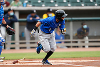 Biloxi Shuckers shortstop Brice Turang (2) in action against the Tennessee Smokies on May 18, 2021, at Smokies Stadium in Kodak, Tennessee. (Danny Parker/Four Seam Images)