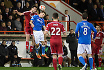 Aberdeen v St Johnstone...01.01.15   SPFL<br /> Andrew Considine gets above David Wotherspoon<br /> Picture by Graeme Hart.<br /> Copyright Perthshire Picture Agency<br /> Tel: 01738 623350  Mobile: 07990 594431