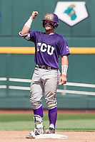 TCU Horned Frogs catcher Evan Skoug (9) celebrates hitting a double against the Texas Tech Red Raiders in Game 3 of the NCAA College World Series on June 19, 2016 at TD Ameritrade Park in Omaha, Nebraska. TCU defeated Texas Tech 5-3. (Andrew Woolley/Four Seam Images)