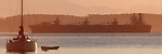 Puget Sound, freighter, sailboat, Mount Baker at dawn, Washington State, USA, Pacific Northwest, Inside Passage, bulk carrier outbound through Admiralty Inlet off Port Townsend, panorama, ..