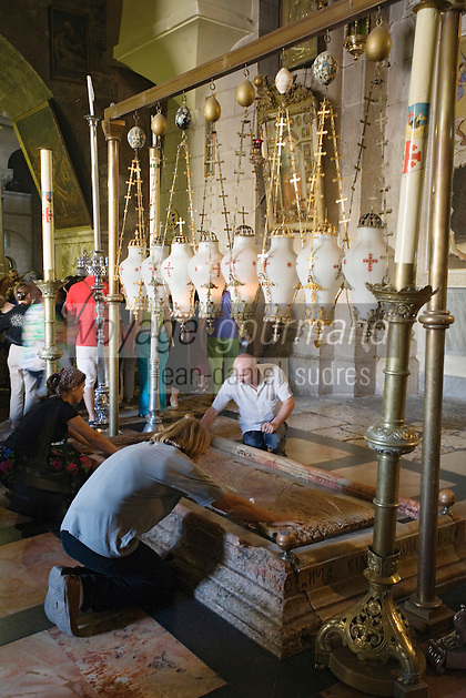 Asie/Israël/Judée/Jérusalem: Pierre de l'Onction à l'église du Saint Sépulcre de Jérusalem