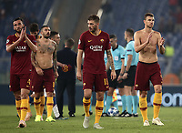 Football Soccer: UEFA Champions League  AS Roma vs PFC CSKA Mosca Stadio Olimpico Rome, Italy, October 23, 2018. <br /> Roma's players celebrate after winning 3-0 the Uefa Champions League football soccer match between AS Roma and PFC CSKA Mosca at Rome's Olympic stadium, October 23, 2018.<br /> UPDATE IMAGES PRESS/Isabella Bonotto