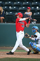 Jared Oliva (42) of the Arizona Wildcats bats against the UCLA Bruins at Jackie Robinson Stadium on March 19, 2017 in Los Angeles, California. UCLA defeated Arizona, 8-7. (Larry Goren/Four Seam Images)