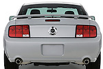 Straight rear view of a 2007 Ford Mustang GT Coupe