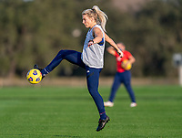 ORLANDO, FL - JANUARY 21: Julie Ertz #8 of the USWNT takes a shot during a training session at the practice fields on January 21, 2021 in Orlando, Florida.