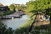 Grand Union Canal and towpath by Lisson Green Estate, London.