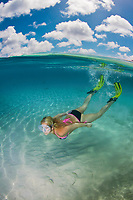Snorkeler swimming over sandy bottom (split view), Bonaire, Netherland Antilles, Caribbean Sea, Atlantic Ocean, MR