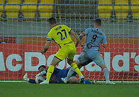 Phoenix's Stefan Marinovic makes a late save during the A-League football match between Wellington Phoenix and Brisbane Roar at Westpac Stadium in Wellington, New Zealand on Saturday, 23 November 2019. Photo: Dave Lintott / lintottphoto.co.nz
