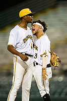 Bradenton Marauders pitcher Oliver Mateo (43) celebrates with Francisco Acuna (3) after closing out Game Two of the Low-A Southeast Championship Series against the Tampa Tarpons on September 22, 2021 at LECOM Park in Bradenton, Florida.  (Mike Janes/Four Seam Images)
