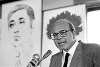 Bettino Craxi, segretario del PSI (Partito Socialista Italiano) partecipa nei locali del Corriere della Sera ad una commemorazione del giornalista Walter Tobagi, ucciso in un attacco terroristico nel 1980 (Milano, maggio 1982)
