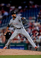 26 September 2018: Miami Marlins pitcher Tayron Guerrero on the mound against the Washington Nationals at Nationals Park in Washington, DC. The Nationals defeated the visiting Marlins 9-3, closing out Washington's 2018 home season. Mandatory Credit: Ed Wolfstein Photo *** RAW (NEF) Image File Available ***