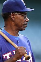 Texas Rangers manager Ron Washington #38 before a game against the Los Angeles Angels at Angel Stadium on September 27, 2011 in Anaheim,California. Texas defeated Los Angeles 10-3.(Larry Goren/Four Seam Images)