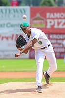 Clinton LumberKings pitcher Raymond Kerr (8) delivers a pitch during a Midwest League game against the Lansing Lugnuts on July 15, 2018 at Ashford University Field in Clinton, Iowa. Clinton defeated Lansing 6-2. (Brad Krause/Four Seam Images)