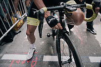 Chris Froome (GBR/SKY) checking his brakes at the start<br /> <br /> 104th Tour de France 2017<br /> Stage 7 - Troyes › Nuits-Saint-Georges (214km)
