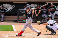 Lansing Lugnuts second baseman Kevin Vicuna (3) swings at a pitch during a Midwest League game against the Wisconsin Timber Rattlers on May 8, 2018 at Fox Cities Stadium in Appleton, Wisconsin. Lansing defeated Wisconsin 11-4. (Brad Krause/Four Seam Images)