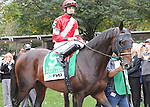 Fort Larned, ridden by Brian Hernandez Jr., runs in the TVG Jockey Club Gold Cup Invitational Stakes (GI) at Belmont Park in Elmont, New York on September 29, 2012.  (Bob Mayberger/Eclipse Sportswire)
