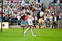 Thursday  01  August  2013<br /> <br /> Pictured:Muchu celebrates one of the Swansea city Goals<br /> Re:UEFA Europa League Third Qualifying Round -1st Leg Swansea City vs Malmo FF