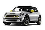 Stock pictures of low aggressive front three quarter view of 2020 MINI MINI-Electric Cooper-SE-L 2 Door Hatchback Low Aggressive