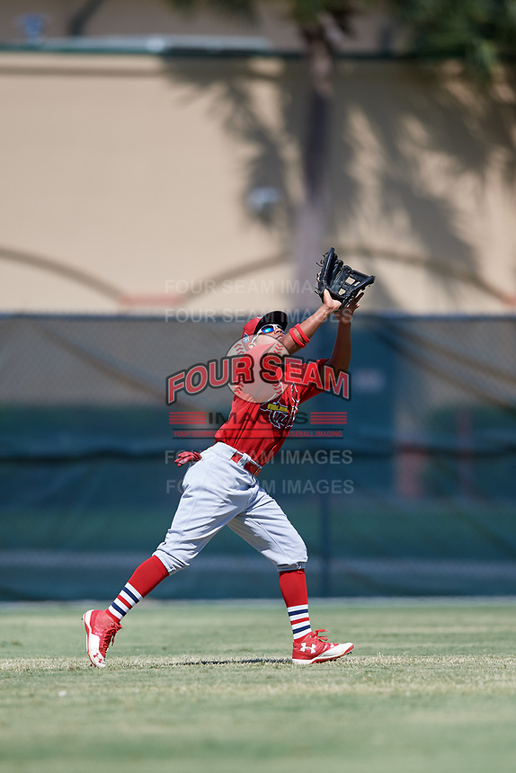 GCL Cardinals left fielder Diomedes Del Rio (44) settles under a fly ball during a game against the GCL Mets on August 6, 2018 at Roger Dean Chevrolet Stadium in Jupiter, Florida.  GCL Cardinals defeated GCL Mets 6-3.  (Mike Janes/Four Seam Images)