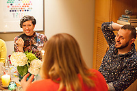 """SEATTLE, WA-APRIL 17, 2017: Patricia Rangel speaks with Stefanie Fox and Hussein Saab, right, during the dinner party. <br /> <br /> Amanda Saab, along with her husband Hussein Saab, co-hosted a """"dinner with your Muslim neighbor"""" at the home of Stefanie and Nason (cq) Fox in Seattle, WA on a return trip April 17th 2017. The couple now live in Detroit. The guests are <br /> <br /> <br /> (Photo by Meryl Schenker/For The Washington Post)"""