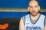 Player Quino Colom attends an interviews after the first training of Spanish National Team of Basketball 2019 . July 26, 2019. (ALTERPHOTOS/Francis González)