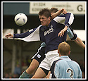 28/9/02       Copyright Pic : James Stewart                     .File Name : stewart-falkirk v st j'stone 04.KEVIN JAMES GETS ELBOWED IN THE BACK OF THE HEAD AS HE JUMPS FOR THE BALL.....James Stewart Photo Agency, 19 Carronlea Drive, Falkirk. FK2 8DN      Vat Reg No. 607 6932 25.Office : +44 (0)1324 570906     .Mobile : + 44 (0)7721 416997.Fax     :  +44 (0)1324 570906.E-mail : jim@jspa.co.uk.If you require further information then contact Jim Stewart on any of the numbers above.........