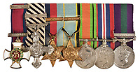 BNPS.co.uk (01202) 558833.<br /> Pic: DominicWinterAuctions/BNPS<br /> <br /> SEE BELOW UPDATED CAPTION<br /> <br /> Pictured: (from left to right) Distinguished Service Order Distinguished Flying Cross with Second Award Bar, 1939-1945 Star with Battle of Britain clasp, Air Crew Europe Star with France and Germany Clasp, Defence Medal, War Medal<br /> General Service Medal, There is also The Most Excellent Order of the British Empire, 2nd type, Military Division, Commander's (CBE) neck Badge<br /> <br /> The gallantry medals awarded to one of the RAF's finest Battle of Britain aces have been sold by his family for £192,000.<br /> <br /> Air Commodore Peter Malam Brothers destroyed 16 enemy aircraft during the Second World War and was a veteran of the Battle of France, the Battle of Britain, the Dieppe raid and D-Day. <br /> <br /> In his RAF logbooks that were also sold, he drew red swastikas to mark all his 'kills' and he wrote the words 'Good Show' to describe the Normandy invasion.
