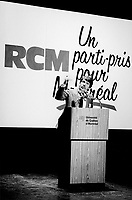 Montreal. CANADA -  October 25, 1985 File Photo - <br /> Jean Dore, Leader, RCM speak at the convention.<br /> <br /> File Photo : Agence Quebec Pressse  - Pierre Roussel