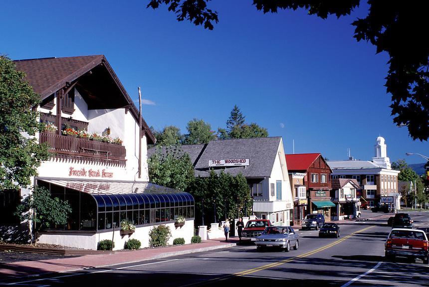 Lake Placid, New York, NY, Adirondacks, Shops along Main Street in downtown Lake Placid.