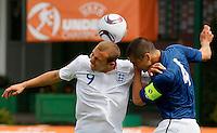 Soccer, UEFA U-17.France Vs. England.Hallam Hope, left and Raphael Calvet.Indjija, 03.05.2011..foto: Srdjan Stevanovic