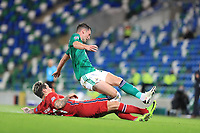 7th September 2020; Windsor Park, Belfast, County Antrim, Northern Ireland; EUFA Nations League, Group B, Northern Ireland versus Norway; Jordan Thompson of Northern Ireland and Norway's Mathias Normann compete for the ball