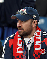 New England Revolution fan.In a Major League Soccer (MLS) match, the New England Revolution (blue/red) defeated Philadelphia Union (blue/white), 2-0, at Gillette Stadium on April 27, 2013.