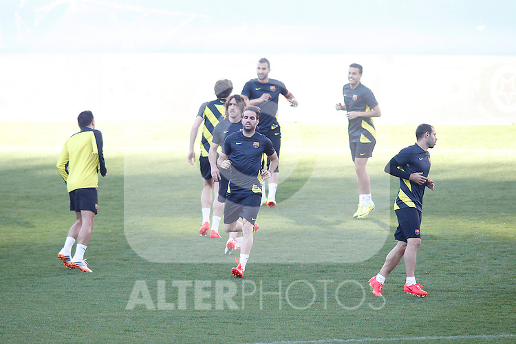 FC Barcelona´s players during a training at the Vicente Calderon stadium in Madrid, Spain. Atletico de Madrid will face FC Barcelona in the second leg quarterfinal Champions League soccer match.  April 8, 2014. (ALTERPHOTOS/Victor Blanco)