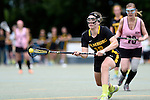 GER - Hannover, Germany, May 31: During the Women Lacrosse Playoffs 2015 match between KIT SC Karlsruhe (pink) and HTHC Hamburg (black) on May 31, 2015 at Deutscher Hockey-Club Hannover e.V. in Hannover, Germany. (Photo by Dirk Markgraf / www.265-images.com) *** Local caption *** Antonia Grabe #18 of HTHC Hamburg