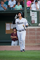 Idaho Falls Chukars catcher Jesus Atencio (31) walks towards the batter's box during a Pioneer League game against the Great Falls Voyagers at Melaleuca Field on August 18, 2018 in Idaho Falls, Idaho. The Idaho Falls Chukars defeated the Great Falls Voyagers by a score of 6-5. (Zachary Lucy/Four Seam Images)