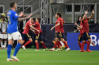 Ferran Torres of Spain celebrates after scoring with Pablo Martin Paez Gavira Gavi of Spain the goal of 0-1 during the Uefa Nations League semi-final football match between Italy and Spain at San Siro stadium in Milano (Italy), October 6th, 2021. Photo Andrea Staccioli / Insidefoto