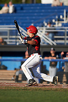 Batavia Muckdogs catcher Michael Hernandez (4) at bat during a game against the West Virginia Black Bears on August 5, 2017 at Dwyer Stadium in Batavia, New York.  Batavia defeated West Virginia 3-2.  (Mike Janes/Four Seam Images)