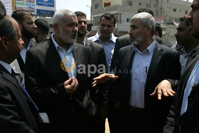Palestinian Prime Minister in Gaza Strip, Ismail Haniya visits the site of a new project in Rafah town close to the Rafah border crossing with Egypt, in the southern Gaza Strip on July 06, 2011. Photo by Abed Rahim Khatib