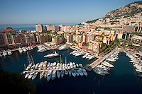 Fontvielle Harbour viewed from Le Rocher (The Rock), beside the Prince's Palace, Monaco, 5 July 2013. Fontvielle Harbour is one of two ports in Monaco.